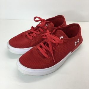 Under Armour Boys Sz 1 Red White Sneaker Shoes